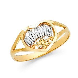 14K Gold MOMMY Heart Ring sz 4 5 6 7 8 9
